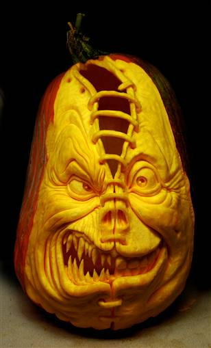 crazy carved pumpkin