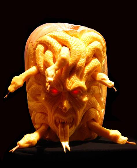 Snakes in Carved pumpkin
