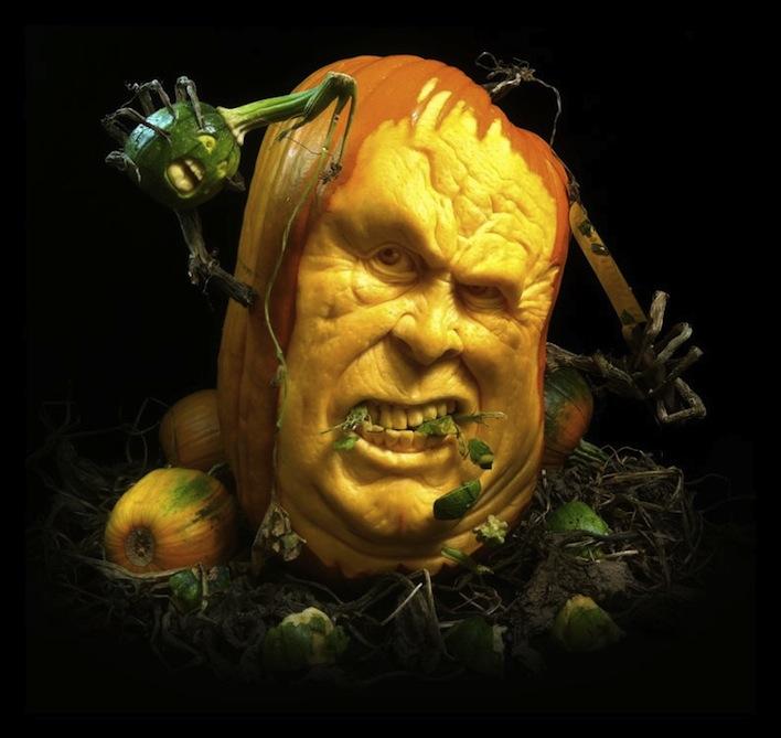 eating carved pumpkin